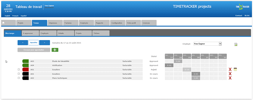 Timesheet management for TIMETRACKER project